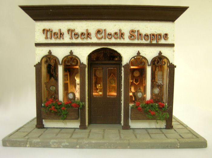 The Tick Tock Clock Shoppe in Quarter Scale - Click Image to Close